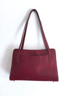 Burgundy Top Handle Leather Bag / Leather Handbag Purse / Rigid Secretary Satchel Purse / Red Wine Color Shoulder Bag   This is a strong leather