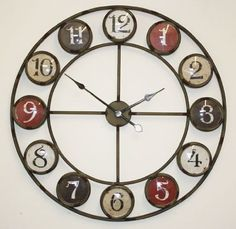 Large Metal Wall Clock With Coloured Glazed Numbers: Amazon.co.uk: Kitchen & Home