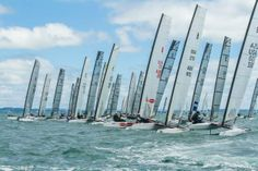 America's Cup skipper and Olympic Gold medallist, Nathan Outteridge (AUS) put another slant on the form guide for the 2014 A-Class Catamaran Worlds with a convincing win in the practice race sailed off Takapuna Beach, New Zealand