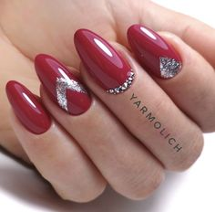 Cute Almond Nails, Almond Nail Art, Burgundy Nails, Red Nails, Nails Inspiration, Nail Designs, Fun Stuff, Color, Beauty
