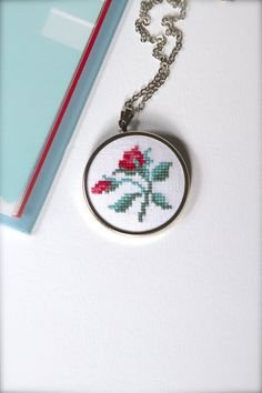 Hand embroidered floral necklace - Flower necklace - Cross stitch necklace - Roses necklace - Shabby chic - Garden party - Red rose - Flower