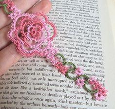 English Rose Bookmark in Tatting - Rosa. $9.00, via Etsy.