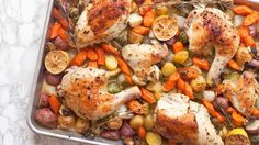 This roasted chicken dinner somehow manages to be fancy enough to feed to guests but still easy enough to make any time. Hooray for sheet-pan dinners!