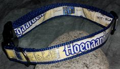 Adjustable Dog Collar from Recycled Hoegaarden beer labels by squigglechick, $16.00