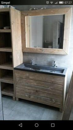 Badkamer meubel op maat. Voor meer informatie, ga naar steigerhout.nu