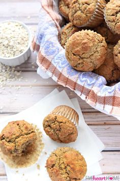 Wholesome Oatmeal Spice Muffins are perfectly spiced with crunchy tops and pillowy centers, making them a delicious breakfast on-the-go or anytime snack! Protein Muffins, Healthy Muffins, Oatmeal Muffins, Simple Muffin Recipe, Healthy Muffin Recipes, Healthy Snacks, Baking Recipes, Cookie Recipes, Bread Recipes