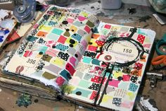 washi tape collage....  good way to use up little bits and pieces I never know what to do with.