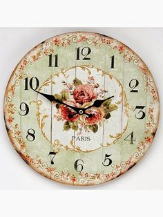 this rose flower clock in mint and coral / salmon and other paris styled clock faces - love the little scroll work Art Vintage, Decoupage Vintage, Decoupage Paper, Vintage Paper, Vintage Images, Vintage Prints, Clock Art, Diy Clock, Wall Clocks