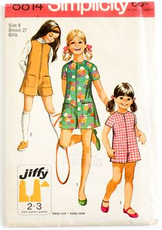 Vintage 1960s Girls Size 8 Pantdress or Pantjumper Simplicity Sewing Pattern…