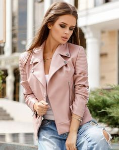 As they weather cools we all start to look for Trendy Womens Autumn Coats for fall and early winter. Have a look at this these great coats. Teen Fashion, Teenager Fashion, Fashion Trends, Leather Jacket Outfits, Pink Leather, My Style, Biker, Jackets, Blush