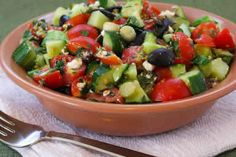 Chopped Tomato and Cucumber Salad Recipe with Mint, Feta, Lemon, and Thyme from Kalyn's Kitchen