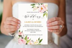 Floral Wedding Invitation Template, Printable Wedding Invitation, Watercolor Peony Elegant Wedding Invites, DIY PDF Instant Download