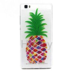 Colored Painting Ultrathin Soft TPU Back Case for Huawei Ascend P8 Lite - Pineapple