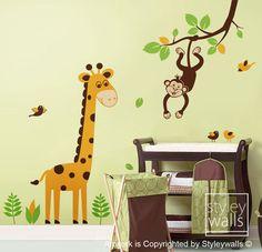 Tree Wall Decal Giraffe Wall decal Jungle Animals Monkey swinging from Branch and Cute Giraffe - Nursery Kids Baby room Vinyl Wall Decal. $83.00, via Etsy.