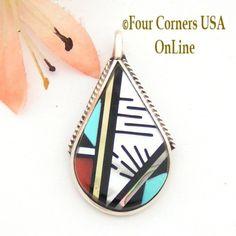 Four Corners USA Online - Zuni Multi Stone Inlay Sterling Pendant Native American Jewelry Cleo Kallestewa, $85.00 (http://stores.fourcornersusaonline.com/zuni-multi-stone-inlay-sterling-pendant-native-american-jewelry-cleo-kallestewa/)