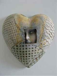 """Sally and Neil MacDonell large ceramic heart - UK. Found on CERAMICS AND POTTERY ARTS AND RESOURCES blog. """"Hearts of clay"""" September 19, 2012.  This site has excellent articles and pictures!"""