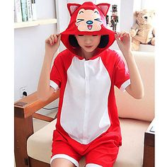 18f6a29f1e Unisex Lovely Ahri Fox Cotton Kigurumi Pajama For Summer Hooded Flannel