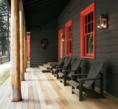 Black paint on exterior, red trim I LOVE this. There's a black house in BZN I've always admired too!