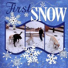 Snow scrapbooking page layout - like the way the pictures are cut into a wave.
