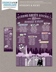 Pop up superhero-themed wedding program and seating chart with true comic book style | Design by Indigo Envelope | www.indigoenvelope.com #indigoenvelope #superhero #popculture #extras