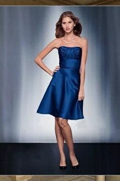 Strapless Tea Length Satin Bridesmaid Dress