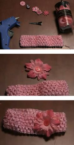 How to make a simple flower hair bow with a crochet headband.
