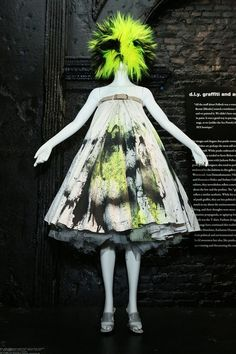 "Alexander McQueen's renowned spring/summer 1999 ""spray paint dress,"" previously featured in the ""Savage Beauty"" retrospective exhibition."