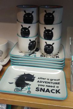 After a great adventure you need a snack monster mugs and plates