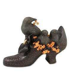 Black Crow Witch Shoe Figurine #zulily #zulilyfinds