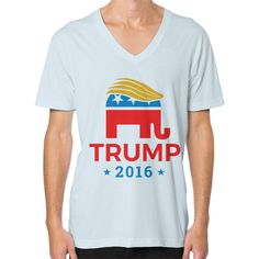 Trump Elephant 2016 - Donald Trump for President 2016 American Apparel traditional cut short sleeve V-neck (2456) is made of 100% fine ring-spun combed cotton, this lightweight fine jersey is exceptio
