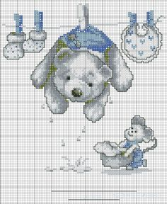 Cross-stitch Wet Teddy... no color chart available, just use the pattern chart as your color guide... Gallery.ru / Фото #1 - Мишки - anethka