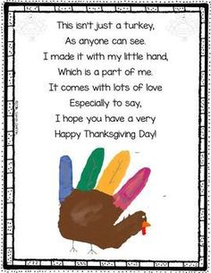 Turkey Handprint Poem for Thanksgiving
