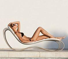 chaise-longue de jardin érgonomique en métal