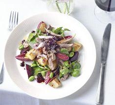 Warm duck salad with Merlot dressing recipe - Recipes - BBC Good Food Duck Recipes, Salad Recipes, Party Recipes, Mashed Parsnips, Chicken Schnitzel, Baked Corn, Duck Sauce, Bbc Good Food Recipes, Dressing Recipe