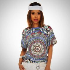 8467482c8a Zohra Retro Fashion Women Short Sleeve t shirt Mandala Dots Printing Tee  Shirt Summer Casual Woman Long T-Shirt