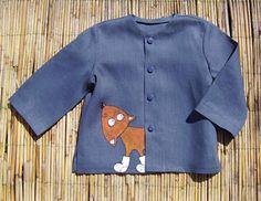 Boys linen painted suit    blue color  unit work  by InGAartWork