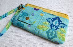 Tag Along Wristlet / AOP  Fleur in Turquoise by shannyann on Etsy