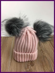 2017 new women cute knitted acrylic +fox fur pom pom beanies winter solid hat