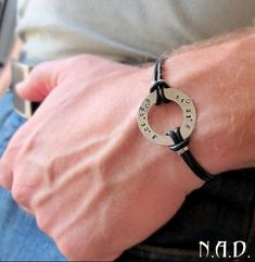 Adjustable Washer Bracelet for Men.Personalized Leather Men's Bracelet | mens-accessories - Jewelry on ArtFire