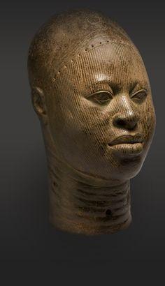 Copper head. Found at Wunmonije Compound, Ife, Nigeria. Late 14th-early 16th century.  The British Museum: Kingdom of Ife