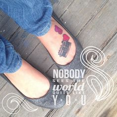 Camera, tattoo, foot, photographer, hearts, quote, love
