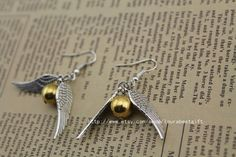 the harry potter jewelry The Golden Snitch earrings antique jewelry steampunk gift on Etsy, $2.20