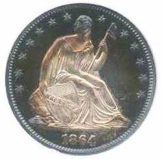 1864 Proof cameoSeated Liberty  Half Dollar Obverse....