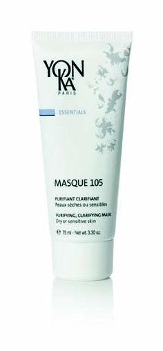 Yon-Ka Masque 105 Purifying Clay Mask Normal to Dry skin 100 ml  Even the most fragile of skins enjoy this soft, creamy, delightfully scented mask. It detoxifies the skin, leaving it purified with a clearer complexion, helps tighten enlarged pores, recommended at all ages, it relieves dry skin from occasional blemishes.