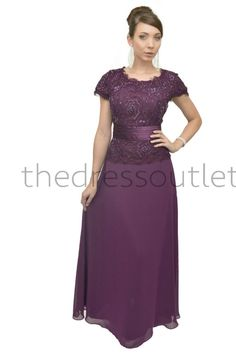 Eggplant Neck Chiffon Plus Size Short Sleeve by TheDressOutlets