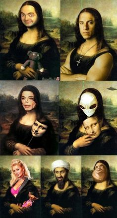 Many faces of Mona Lisa Funny Images, Funny Photos, Cool Photos, Mona Friends, Mona Lisa Parody, Tumblr Art, Boujee Aesthetic, Picture Blog, Best Funny Videos