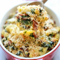 An easy weeknight casserole with chicken, artichokes, spinach and sun-dried tomatoes - and all you need is 10 min prep!