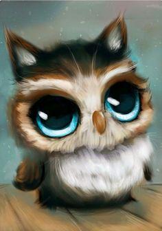 Fluffy Blue Eyed Owl