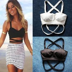 Sexy Black Cross Push Up Bra Bandage Bralette Cropped Tops For Women Slim Vests Tanks Camis Brasier Corset Clubwear femme Corset, Camisole, Black And White Fabric, Color Black, Black White, Bandage, Patchwork Designs, White Fabrics, Summer Time