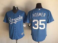 Men's Kansas City Royals #35 Eric Hosmer Light Blue Alternate 2015 MLB Cool Base Jersey